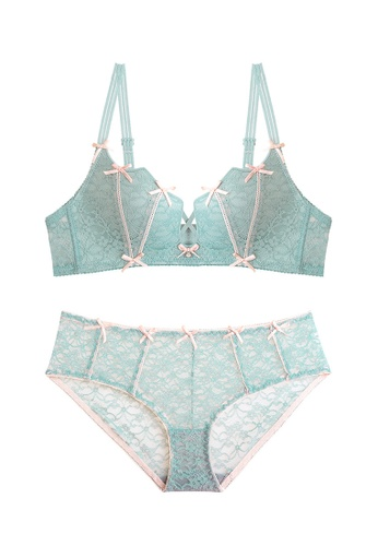 ZITIQUE green Young Girls' Japanese Style Cute Push Up Lace Lingerie Set (Bra And Underwear) - Green 20B52USE879BC7GS_1