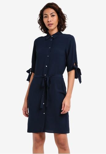 Dorothy Perkins navy Navy Tie Sleeve Shirt Dress DO816AA0SKS2MY_1