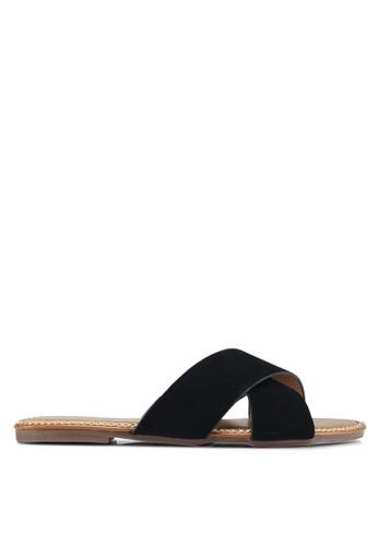 Mimosa 黑色 交叉繞帶平底涼鞋 16862SH3AEF695GS_1