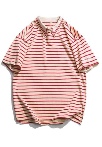 Twenty Eight Shoes Loose Contrast Stripe Polo Shirts HH9095 18780AACA0D79FGS_1