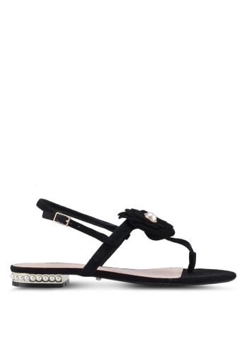 Dune London black Toe Thong Flower Sandals E79B9SH3D4A6DCGS_1