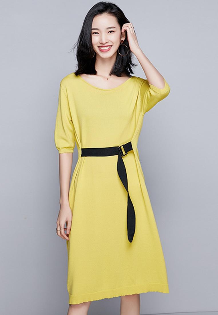 Piece Temperament One Belted Sunnydaysweety CA040905YE New Yellow Dress Knit tOrOgFIqw