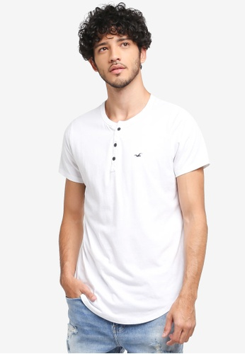Hollister white Solid Henley T-Shirt 5C444AA2077C38GS_1
