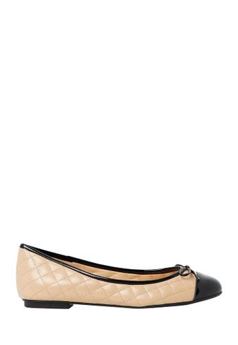 Nina Armando black and beige Bruna Leather Ballet Flats NI342SH0FV8MSG_1