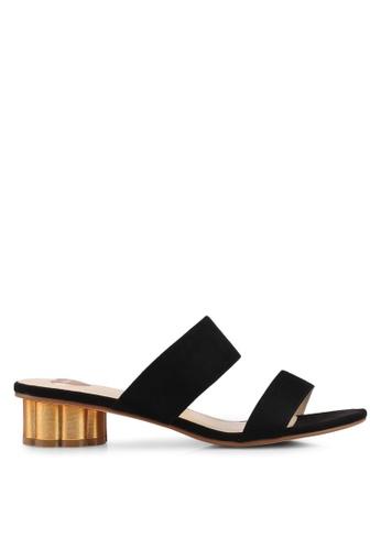 Velvet black Double Strap Slip On Heels 859EDSHECE573BGS_1