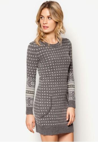 印花長版毛衣, 服飾, 毛衣&zalora鞋amp; 針織外套