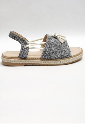 Crystal Korea Fashion grey Korean-made Summer Fabric Leather Flat Sandals E780DSH5DB7309GS_1