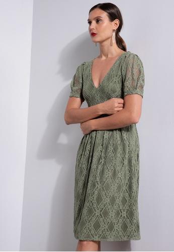 ZALORA OCCASION green Lace Puff Sleeve V Neck Dress 43592AAA303334GS_1