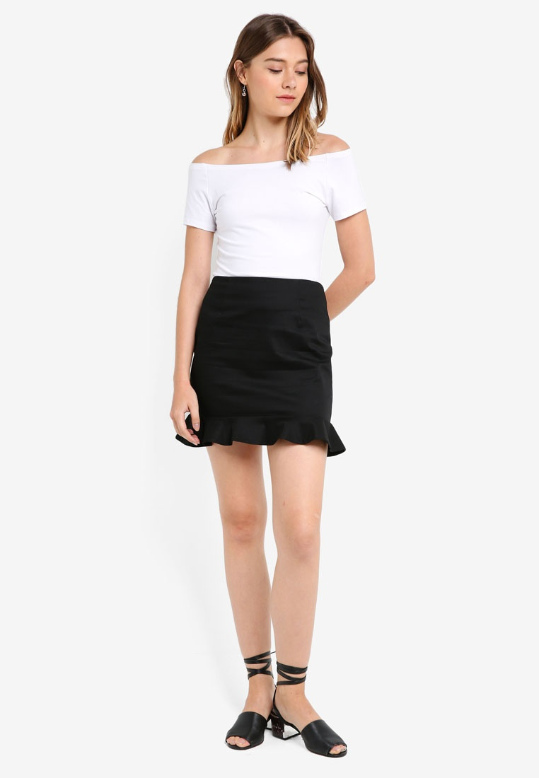 Skirt Something Fluted Hem Borrowed Black CtqHF6