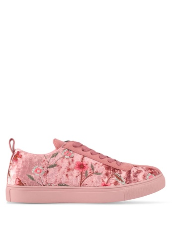 ZALORA pink Floral Embroidered Sneakers D1BA8SHF97C364GS_1