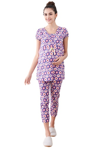 80bc275be9 Mamaway purple Minnie Dot Pattern Maternity   Nursing Pajamas  Sleepwear Set  CCCFEAA89C4080GS 1