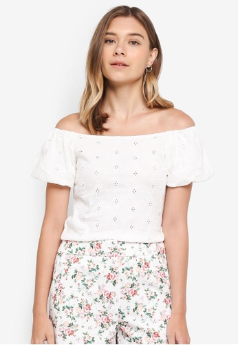 Dorothy Perkins white Ivy Broderie Bardot Top 7FB3EAA32D5742GS_1
