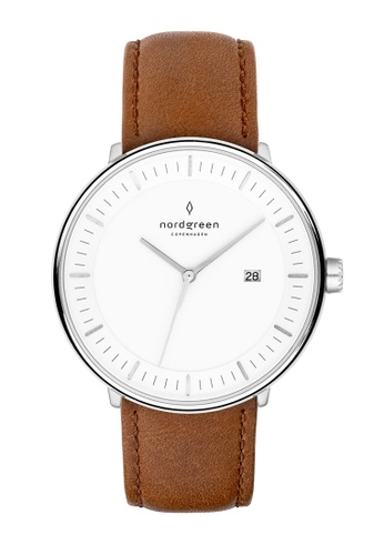 Nordgreen brown and silver Nordgreen Philosopher Silver 36 mm - Brown Leather Watch B1393AC3FF19D5GS_1