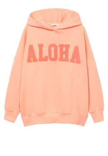 MANGO KIDS orange Oversized Message Sweatshirt D5E8CKA68F5A1DGS_1