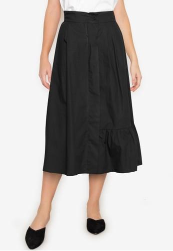 ZALORA BASICS black Assymetric Pleated Midi Skirt 4C87AAA981EA60GS_1