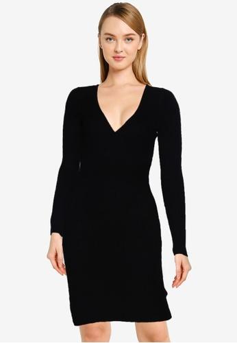 Brave Soul black Knitted Skinny Rib Wrap Front Dress B920CAA542F651GS_1