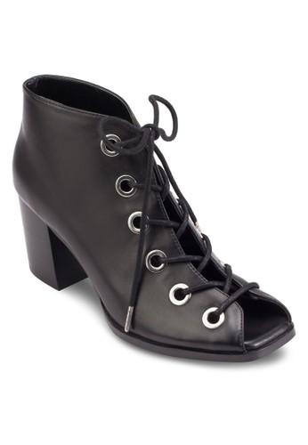 Yevaesprit地址 露趾繫帶高跟短靴, 韓系時尚, 梳妝