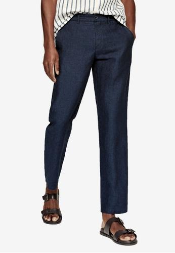 Mango Man blue Slim Fit Linen Trousers 008EFAA87C03A0GS_1