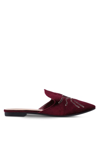 Nose red Velvet Slip On Mules 4082ASH2276140GS_1