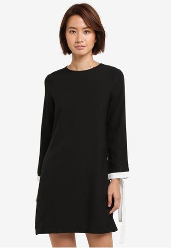 ZALORA black Shift Dress With Sleeve Trim 98856AACE7F611GS_1