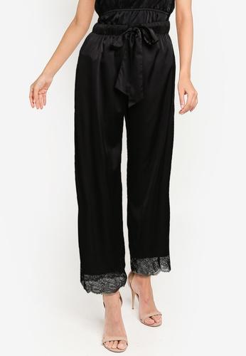 ZALORA BASICS black and white Lounge Lace Hem Wide Leg Pants 433F4AA7DD7DC6GS_1