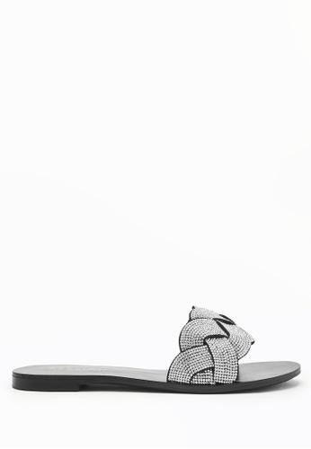 PAZZION silver Weaved Slide Sandals F8305SHBD1D1ACGS_1