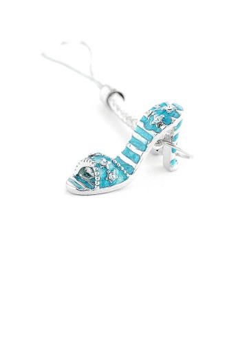 Glamorousky blue White Strap with Blue High-heeled Shoe Charm by Blue Austrian Element Crystals 78D81AC8748EA2GS_1