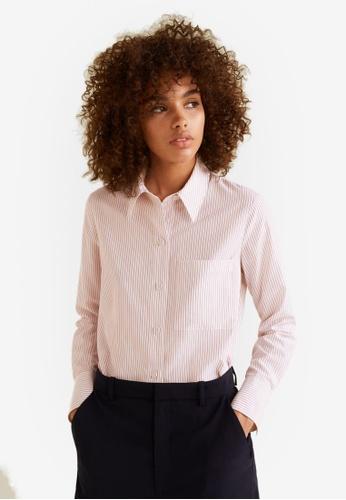 Mango white Striped Modal Shirt 9142CAAF219BE5GS_1