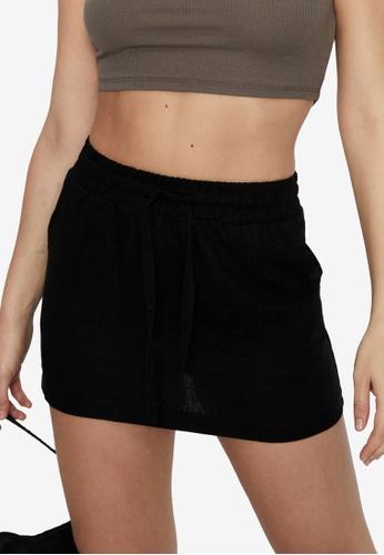 Supre black Orla Drawcord Linen Skirt 99C78AA6AAFE5DGS_1