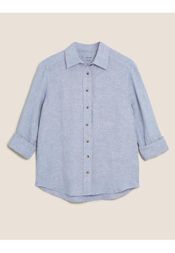MARKS & SPENCER blue M&S Pure Linen Long Sleeve Shirt 1B0F1AA8ED3FF8GS_1