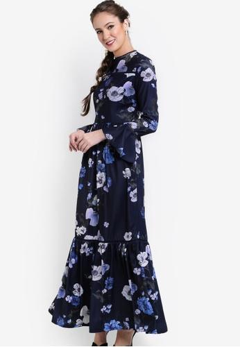 Zalia multi and navy Printed Floral Dress With Trim 05BBDAA728F509GS_1