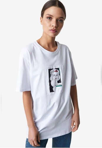 NA-KD 白色 Oversize 前Print T恤 602F9AA6C33900GS_1