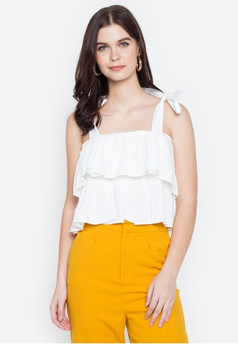Spring Fling white Strappy Ruffle Top A2804AA8D13360GS_1