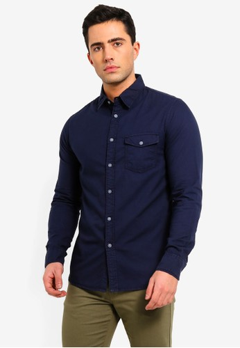 OVS blue and navy Cotton Casual Shirt 7DAB4AABD1C832GS_1