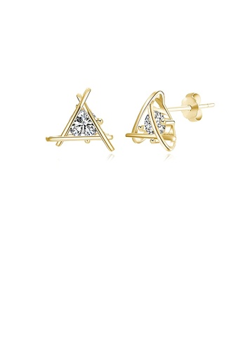 Glamorousky white 925 Sterling Silver Simple Plated Champagne Gold Geometric Triangular Cubic Zirconia Stud Earrings FC308ACD79C4D2GS_1