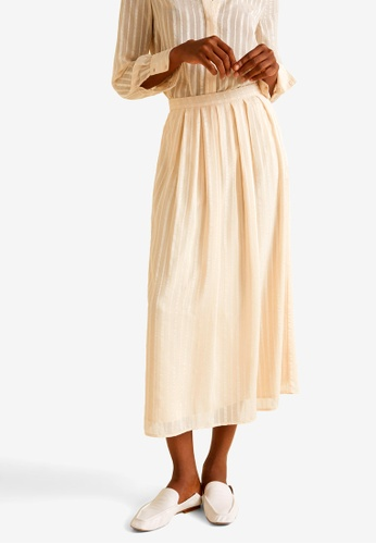 MANGO beige Satin Long Skirt A2369AA911D5BBGS_1