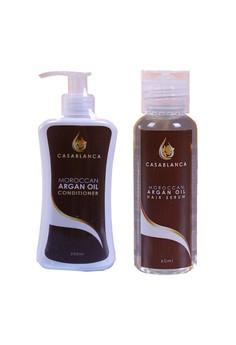 Argan Oil Conditioner 200ml with Moroccan Argan Oil Hair Serum 60ml Bundle