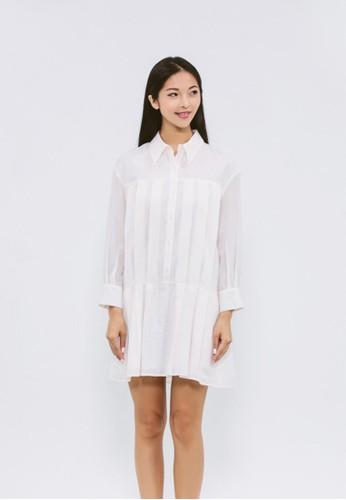 白色緹花有機棉長版襯衫, 服zalora退貨飾, 襯衫