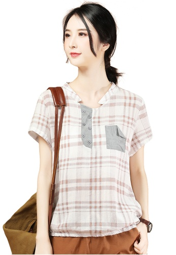 A-IN GIRLS multi Stand Collar Checkered Short-Sleeved Blouse D3836AA9B5C4FAGS_1