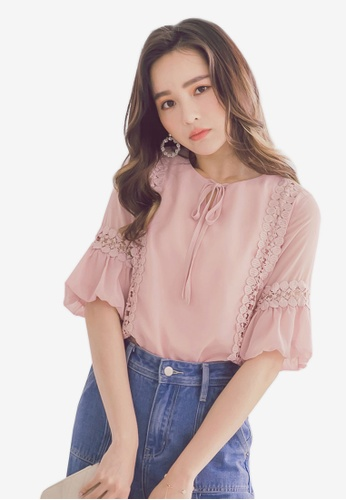 YOCO pink Lace Textured Detail Blouse F8CB0AAF86E71DGS_1