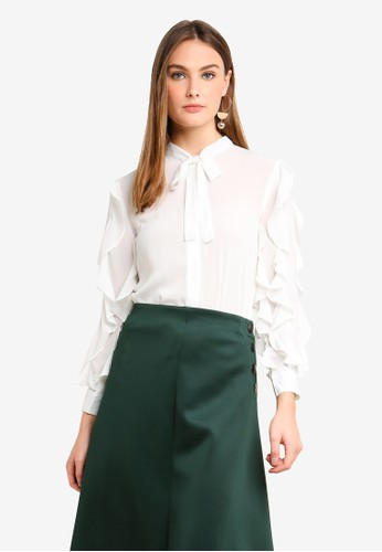 bYSI white Ruffle Sleeves Neck-Tie Shirt 4445AAA6FD298AGS_1
