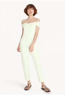 f04695320473 Cold Shoulder Sleeves Jumpsuit - White 48DFAAA2BB26EFGS 1 Pomelo ...