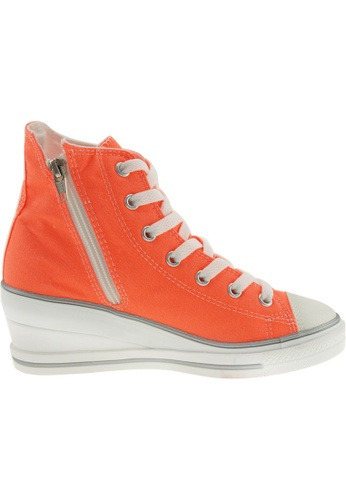 Maxstar orange Maxstar Women's 7H Zipper Canvas Low Wedge Heel Sneakers US Women Size MA164SH58PVXSG_1