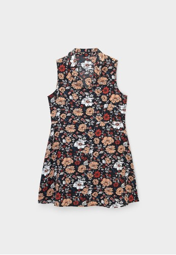 Pomelo black Sleeveless Floral Collared Dress - Black B45B3AAFE75EF0GS_1