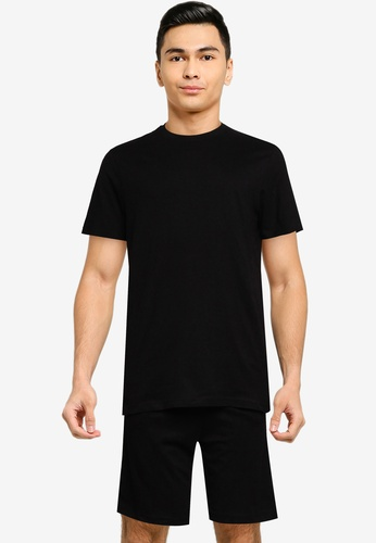 Brave Soul black Crew Neck T-Shirt And Matching Shorts 40F39AA1ED4BE9GS_1