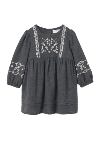 MANGO BABY grey Embroidered Dress 0D628KA45EA8BAGS_1