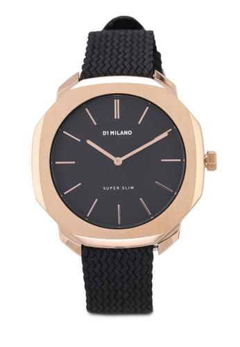 D1 Milano black and gold Super Slim Rose Case Black Perlon Strap Watch 5EC00ACBA6E9F6GS_1