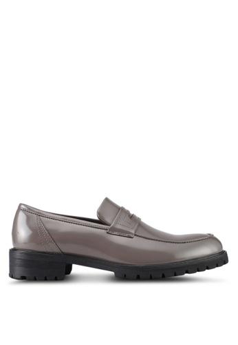 ZALORA grey Faux Leather Slip On Dress Shoes D3FAESH9221577GS_1