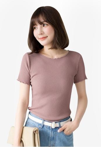 Tokichoi pink Basic Ribbed Top 4B7DAAA18A0114GS_1