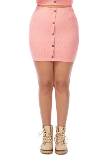 London Rag pink Pink Knitted Tube Mini Skirt 4E357AAF166EE9GS_1